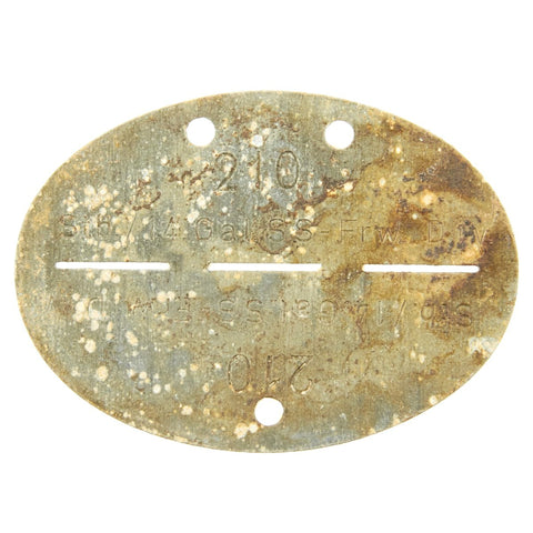 Original German WWII SS Identity Disc Dog Tag - 14th Waffen Grenadier 1st SS Galician Division - No. 210 Original Items