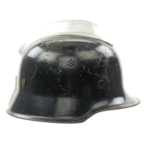 Original German WWII M1934 Fire Police Helmet with Damaged Aluminum Comb - Feuerwehr Helmet Original Items