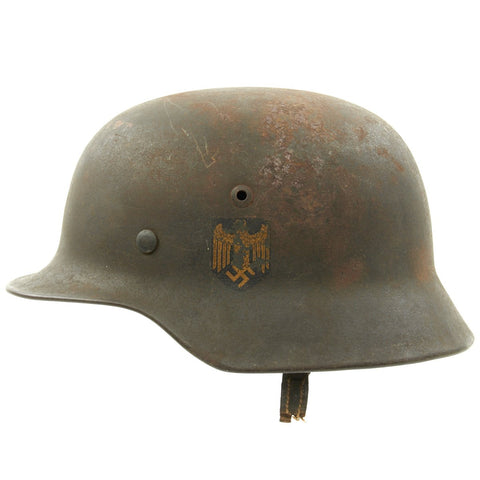 Original German WWII Kriegsmarine Navy M35 Single Decal Named Helmet - Marked SE66