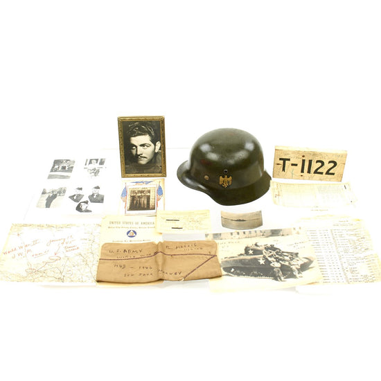Original German WWII Heer M35 Double Decal Steel Helmet SE64 - USGI Bring Back Grouping