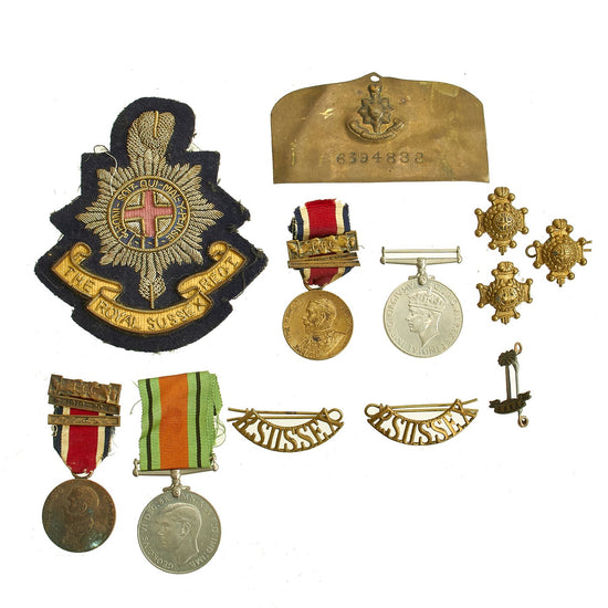 Original British WWII Royal Sussex Regiment Insignia and Medal Collection Original Items
