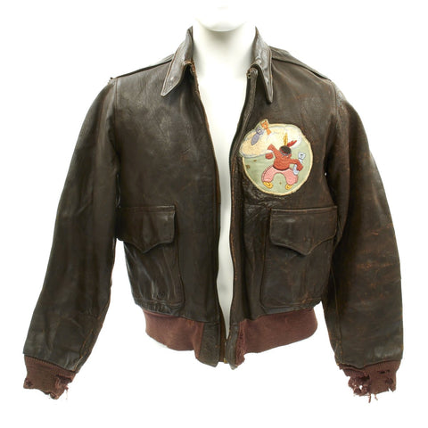 Original U.S. WWII 646th Bombardment Squadron A-2 Flight Jacket Original Items