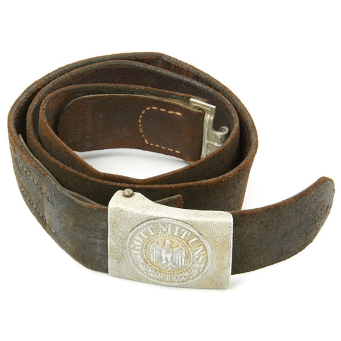 Original German WWII Army Heer Belt with Pebbled Aluminum Buckle - Dated 1939 Original Items