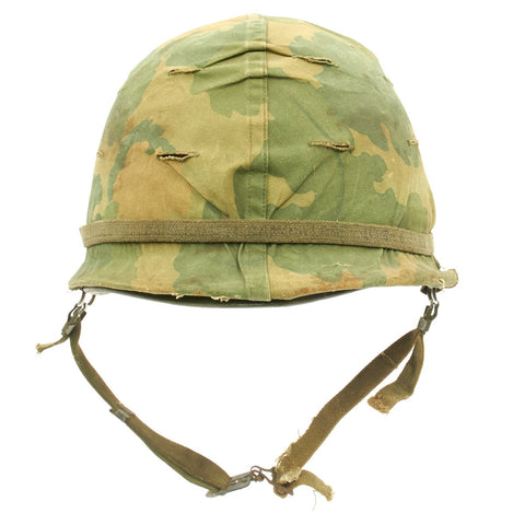 Original U.S. WWII Vietnam War M1 Helmet with USMC Reversible Camouflage Cover Original Items