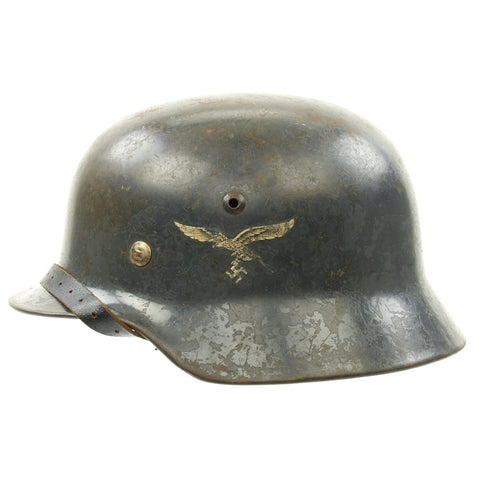 Original German WWII Luftwaffe M35 Double Decal Steel Helmet - marked SE64 Original Items