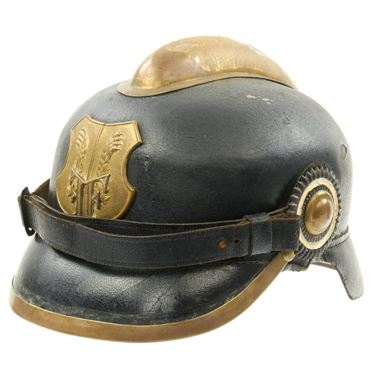 Original German WWI Leather Fire Brigade Helmet by Gustav Rannenberg of Hannover