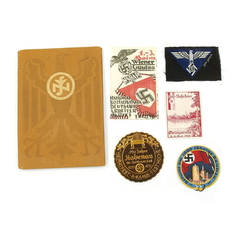 Original German WWII Collector Set: Wine Bottle Labels, TENO Eagle, and Woman's Membership Book Original Items