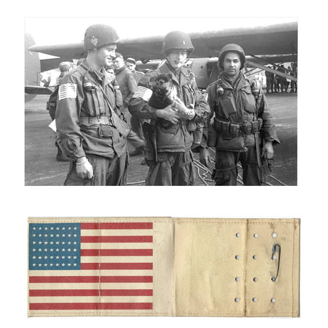 Original U.S. WWII Paratrooper American Flag Invasion Armband with Safety Pins Original Items