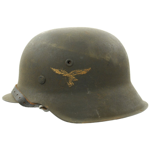 Original German WWII M42 Single Decal Luftwaffe Helmet with Textured Paint and Dome Stamp - NS62 Original Items