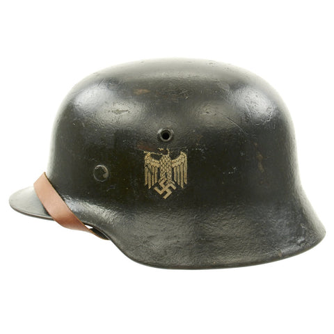 Original German WWII Army Heer M40 Single Decal Steel Helmet with Liner and Chinstrap - ET64
