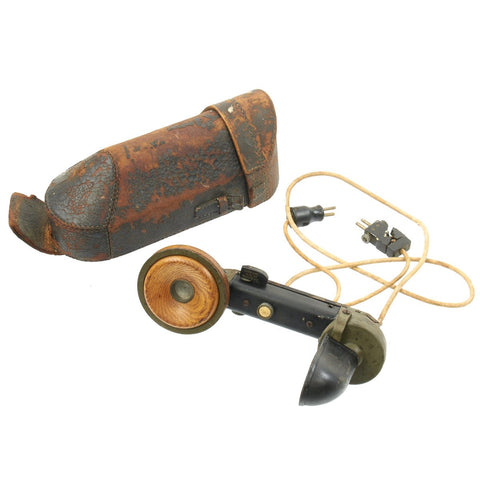 Original German WWI 1916 Trench Field Telephone Handset with Leather Carrier Original Items