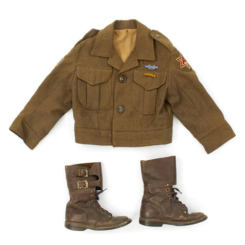 Original U.S. WWII 10th Mountain Division Child Uniform with Boots Original Items