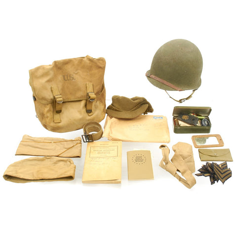 Original U.S. WWII 488th Port Battalion in Italy with Mint M1 Fixed Bale Helmet Grouping Original Items
