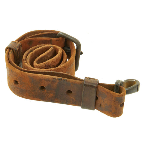 Original Rare Japanese WWII Arisaka Type 99 & TERA Type 2 Paratrooper Leather Rifle Sling with Snap Hook Original Items