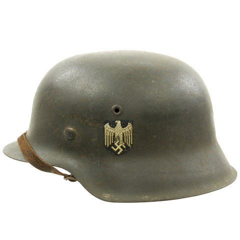 Original German WWII M42 Single Decal Army Heer Helmet with Chinstrap - ET68 Original Items