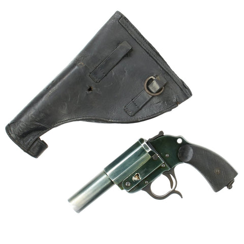 Original German WWII Shrapnel-Damaged LP 34 Heer Signal Flare Pistol by ERMA-Erfurt with Holster - Dated 1940