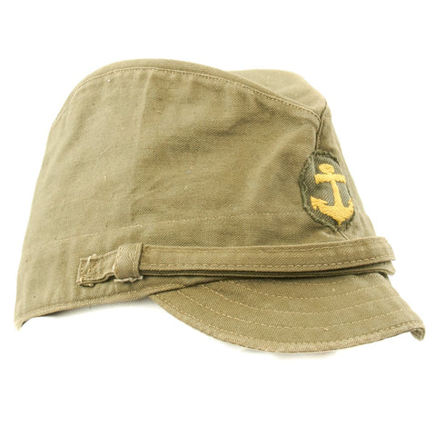 Original WWII Japanese Naval Landing Forces Officer Cotton Forage Cap - SNLF