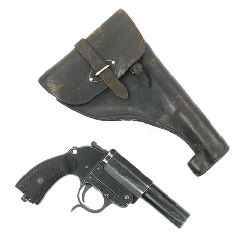 Original German WWII Leuchtpistole 34 Heer Signal Flare Pistol with Leather Holster - Dated 1942 Original Items