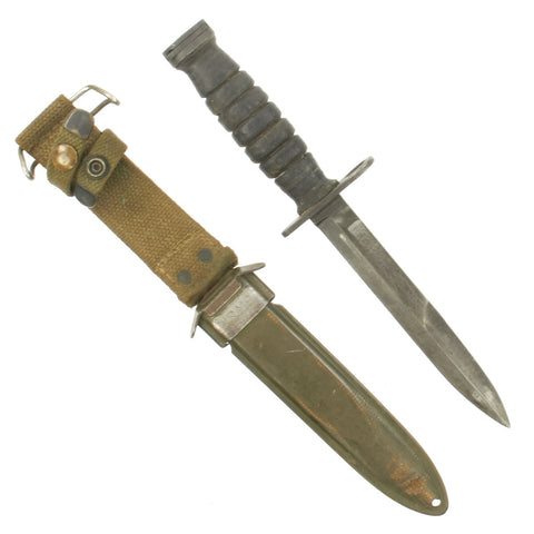 Original U.S. WWII M4 Bayonet by Camillus for the M1 Carbine with M8A1 Scabbard Original Items