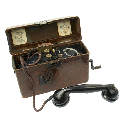 Original German WWII 1940-dated Model FF33 Field Telephone by HELIOWATT - Feldfernsprecher 33