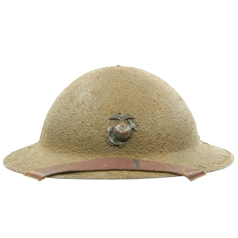Original U.S. USMC WWI M1917 Doughboy Helmet with Textured Paint and Intact Liner and Chinstrap Original Items