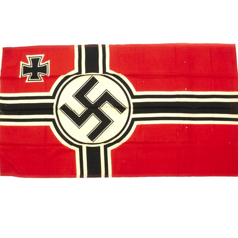 Original German WWII Kriegsmarine Naval Battle Flag with Wartime Markings 100cm x 170cm by Johann Liebieg & Co Sudetenland