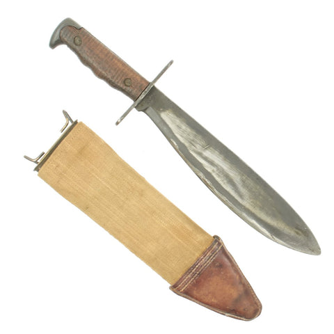 Original U.S. WWI Model 1917 Bolo Knife with Canvas Scabbard by Plumb, St. Louis - Dated 1918
