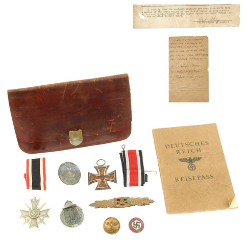Original German WWII USGI Bring Back Group - Resisepass and Medals
