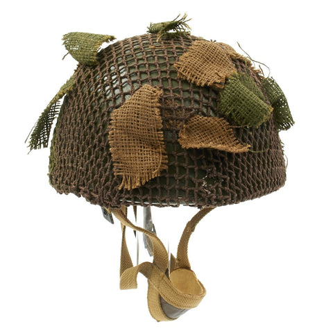 Original WWII British MKII Paratrooper Helmet with Net and Scrim