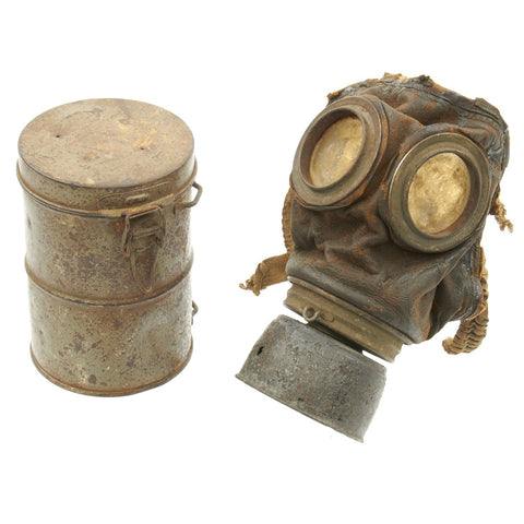 Original Imperial German WWI Gas Mask with Can - Relic Condition