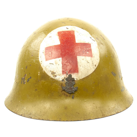 Original WWII Japanese Special Naval Landing Forces (SNLF) Tetsubo Medic Helmet with Postwar Paint