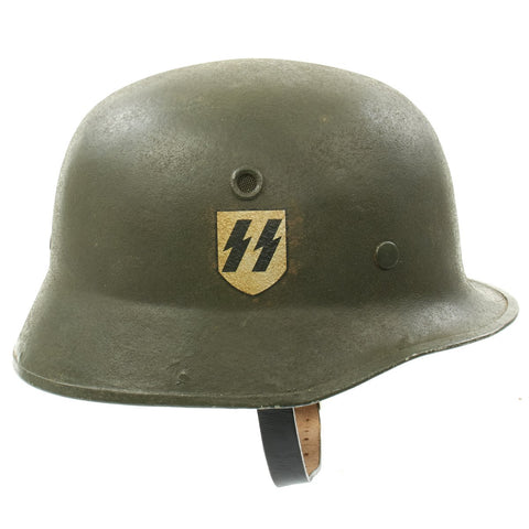 Original German WWII Erel Vulkanfiber Helmet with Post War SS Decal Original Items