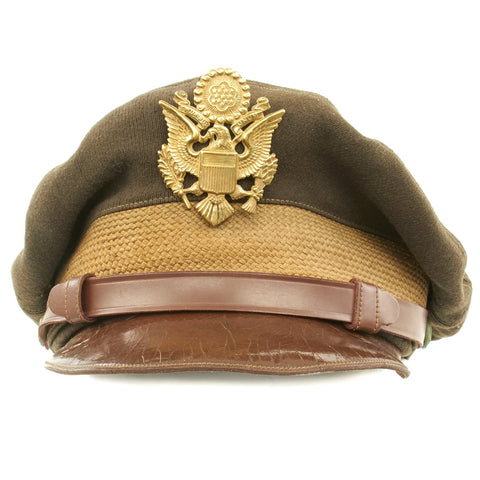 Original U.S. WWII USAAF Officer OD Green Crush Cap with Wicker Frame - Size 6 7/8 Original Items