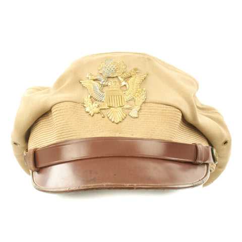 Original U.S. WWII Named USAAF Officer Khaki Crush Peaked Visor Cap by The Uniform Shop - Size 7 1/8 Original Items