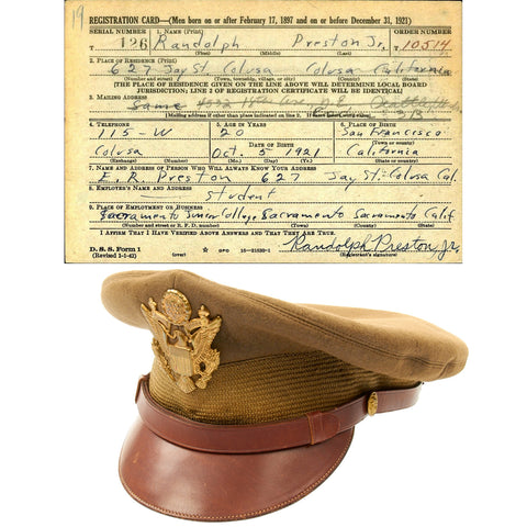 Original U.S. WWII USAAF Named Officer Crush Cap by Luxenberg Of New York Original Items
