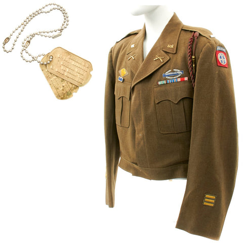 Original U.S. WWII 82nd Airborne Named Lieutenant Ike Jacket with Dog Tags Original Items