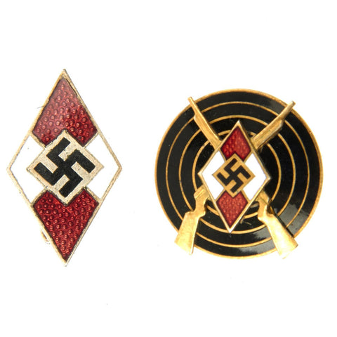 Original German Hitler Youth Enamel Cap Badge and Shooting Pin Set Original Items