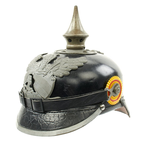 Original Imperial German WWI Grand Duchy of Baden M1915 Infantry Pickelhaube Helmet with Issue Markings Original Items