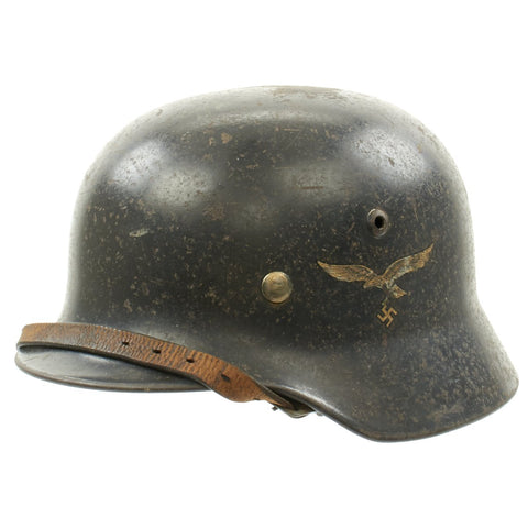 Original German WWII Luftwaffe M35 Double Decal Helmet - marked Q64