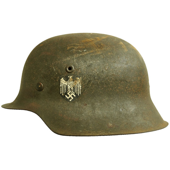 Original German WWII M42 Single Decal Army Heer Helmet Shell with Partial Liner - NS64 Original Items