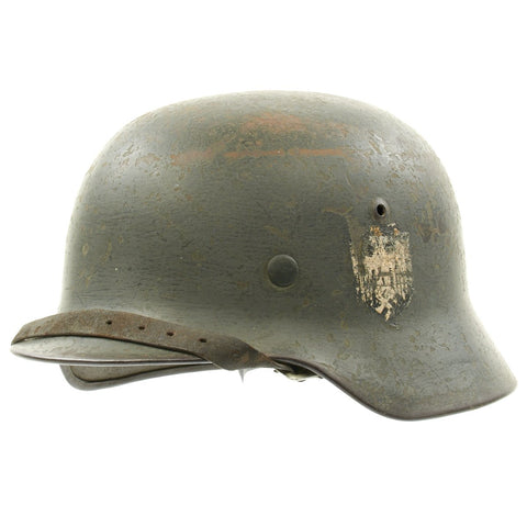 Original German WWII Army Heer M35 Double Decal Named Steel Helmet - ET64 Original Items
