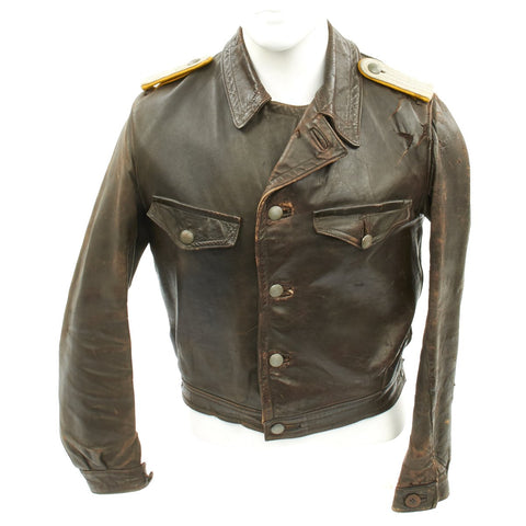Original German WWII Luftwaffe Fighter Pilot Lieutenant Leather Flight Jacket Original Items