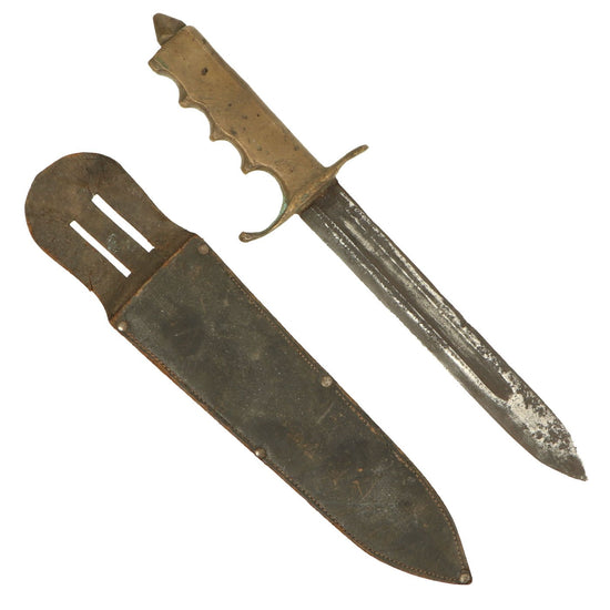 Original U.S. WWII Brass Handle Fighting Knife Theater Made from Bayonet with Scabbard Original Items
