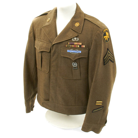 Original U.S. WWII 17th Airborne Division Ike Jacket with Laundry Number Original Items