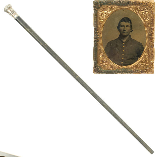 Original U.S. Civil War 16th Indiana Infantry Regiment Named Presentation Cane with Sixth Plate Tintype of Identified Union Soldier