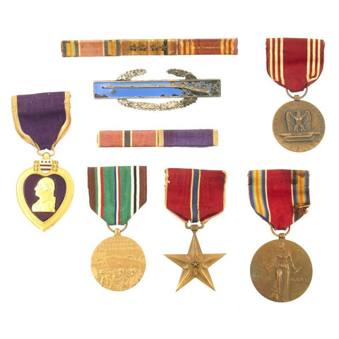 Original U.S. WWII Named Purple Heart Wounded in Action February 1945 Medal Set