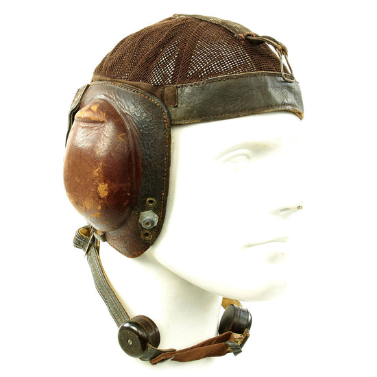 Original German WWII Luftwaffe LKpN101 Netzkopfhaube Summer Flying Helmet by Deutsche Telphonwerke