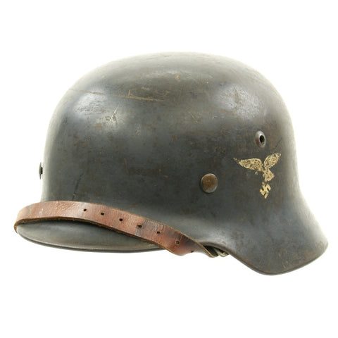Original German WWII Luftwaffe M35 Double Decal Unit-Marked Droop Tail Eagle Steel Helmet - marked ET64 Original Items