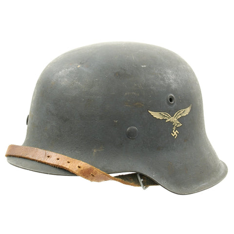 Original German WWII M42 Single Decal Luftwaffe Helmet with Textured Paint in Excellent Condition - ET66 Original Items