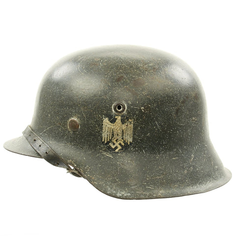 Original German WWII M42 Single Decal Army Heer Helmet with Size 54 Liner and Chinstrap - ckl62 Original Items